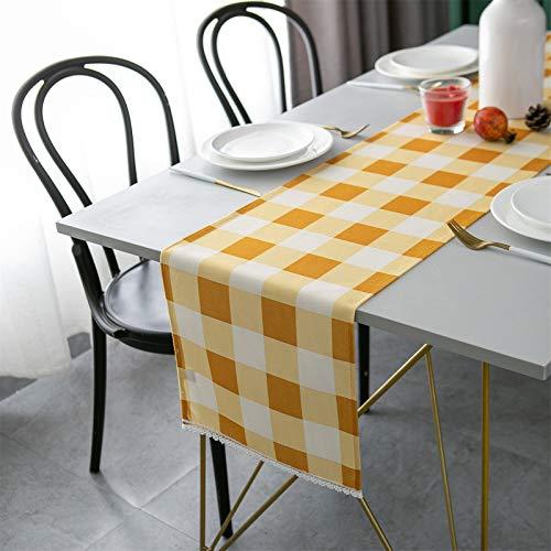 Mdecors Camino de mesa de comedor, diseño de búfalo, a cuadros, para decorar el comedor, el hogar, Navidad, Acción de Gracias (cuadros amarillos y blancos, 35,5 x 274,3 cm)
