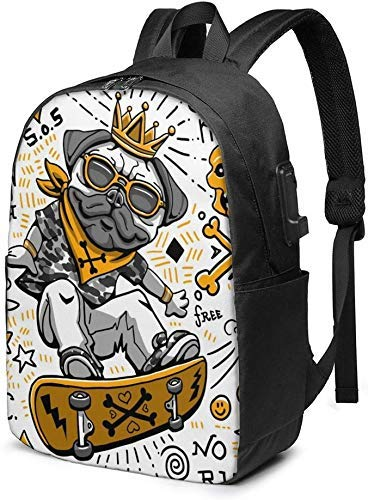 AOOEDM Funny Skater Dog Character Laptop Backpack 17 Inch Business Travel Backpacks College Backpacks with USB Charging Port
