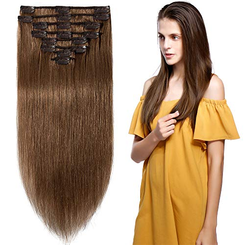 10 inch 70g Clip in Remy Human Hair Extensions Full Head 8 Pieces Set Short length Straight...