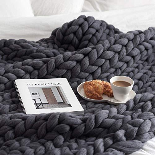 EXQUILEG Gestrickte Decke Grobe Handgefertigt Strickdecke Wolle Arm Garn Haustier Bett Stuhl Sofa Super Stricken Sperrig Chunky Wolldecke Zuhause Dekor Geschenk (Dunkelgrau,120 * 180cm)