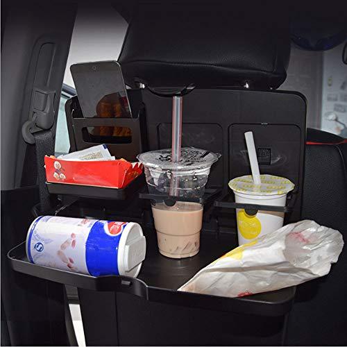 Top-bigK 車用トレイ カーテーブル 後部座席 食事用テーブル 折りたたみ式 収納 リアシート専用 携帯をホルダー付き ドリンクホルダー付き パソコン作業 たっぷり置けるワイドサイズ