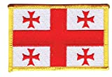 Flaggenfritze Flaggen Aufnäher Georgien Fahne Patch + gratis Aufkleber