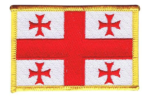 Flaggen Aufnäher Georgien Fahne Patch + gratis Aufkleber, Flaggenfritze®