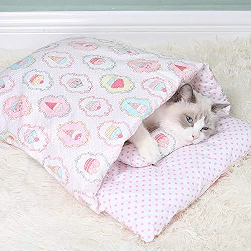 SANGSHI Saco de dormir para gatos, mullido, cama para gatos, extraíble y lavable, cama para mascotas, cama para gatos, caseta para perros, casa para animales para gatos, perros, caseta de cuevas