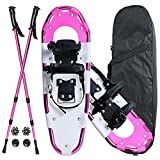 Warmwithann 21/25/27/30 Inches Electric Pink Snowshoes for Men Women Girls Boys, Lightweight Aluminum Snow Shoes with Trekking Poles and Carrying Tote Bag