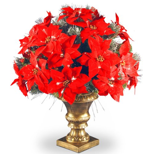 National Tree 26 Inch Fiber Optic Crestwood Spruce Bush with Cones, Glitter, Red Berries, Red Poinsettia and Silver Bristle in Gold Urn (SZCW7-108L-26-1)