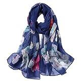 STORY OF SHANGHAI Bufanda de Seda Mujer 100% Seda Estampado Floral Colorido Gran Bufanda Mantón Ultraligero Transpirable Elegante,Kapok Azul,175 * 100 cm