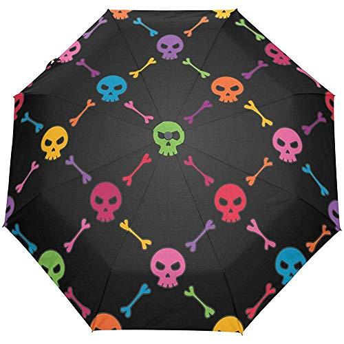 Herbst Bunte Schädel Auto Schließen Winddicht Sonne Regen Golf Regenschirm Kompakte Klappschirme für Reisen Frauen Männer Kinder Schwarz