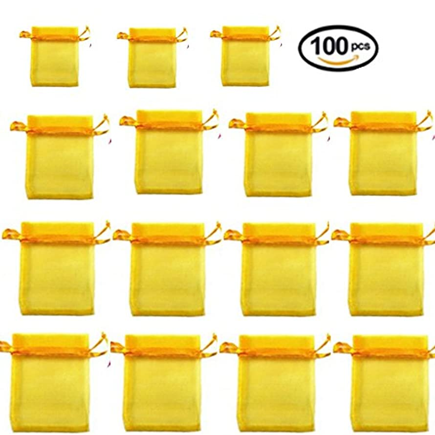 100 Pieces Transparent Bags Satin Drawstring Organza Pouch Watch Bags Gift Bags Wedding Party Favour Jewellery Packing Pouches (10*13, Yellow)
