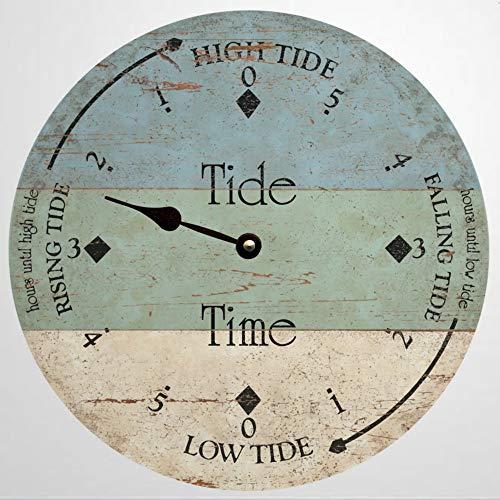 Reloj de marea personalizado para playa, reloj de pared de madera de 12 pulgadas, funciona con pilas, decoración para el hogar