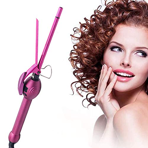 Curling Tongs, Professional Tourmaline Ceramic Curling Iron, 9mm Hair Curler, Small Barrel Curling Wand With LCD Display Dual Voltage 110-240V Hair Styling Tool, For Women Men Children,Pink