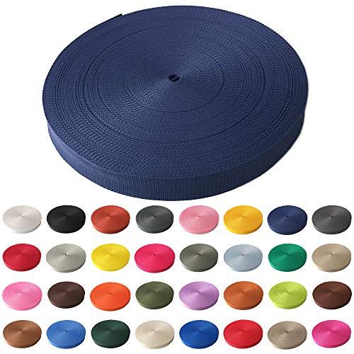 Schnoschi Gurtband Polypropylen 2 Meter lang – viele Verschiedene Breiten und Farben 10mm 15mm 20mm 25mm 30mm 40mm 50 mm (dunkelblau, 30 mm)