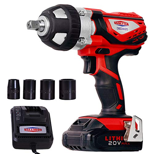 "Cordless Impact Wrench 1/2"" Max Torque 300N.m Compact Battery Impact Wrench with 4Pcs Sockets, 1.5A Li-ion Battery and Fast Charger, Dobetter-DBCIW20"