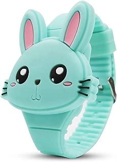 Kids Watch,Girls Watch Digital Cute Rabbit Shape LED Fashion Silicone Band Clamshell Design Wrist Watch Girl Gifts