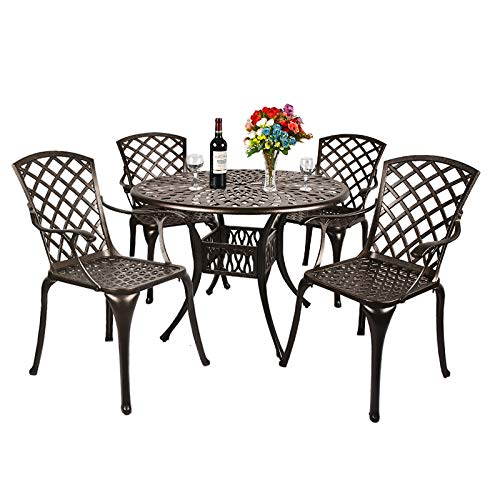 OKIDA 5 Piece Outdoor Cast Aluminum Patio Dining Set, All-Weather Conversation Furniture Set for Patio Deck Balcony Backyard Garden with 4 Chairs and Round Table, Umbrella Hole, Lattice Weave Design