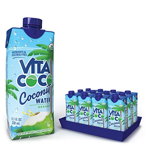 Vita Coco Coconut Water, Pure Organic | Natural Hydrating Electrolyte Drink | Shelf Stable | Smart Alternative To Coffee, Soda, & Sports Drinks | Gluten Free | 11.1 Oz (Pack Of 12)