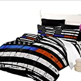 Quilt Cover Queen Size American Flag Printed Duvet Cover Queen 3 PCS Black Blue Red Gray Bedding Set Independence Day Home Decor