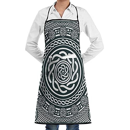 XWJZXS Delantal de cocina impermeable para hombres delantal de chef para mujeres,Circular celta, étnica irlandesa con líneas espirales retorcidas en el sentido de las agujas del reloj Arte insular