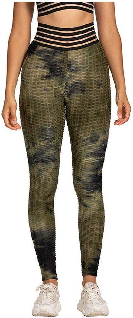 High Waist Bubble Yoga Pants, Tummy Control Workout Pants for Women Super Soft Capri Leggings