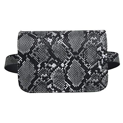 YEBIRAL Hüfttasche Damen PU Leder Schultertasche Kleine Umhängetasche Mode Gürteltasche Schlangen-Muster Bauchtasche