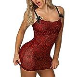 WUSIKY Damen Sexy Dessous Erotisch Bowknot Leopardenmuster Spitzenbesatz Babydoll Cosplay-Kostüm...