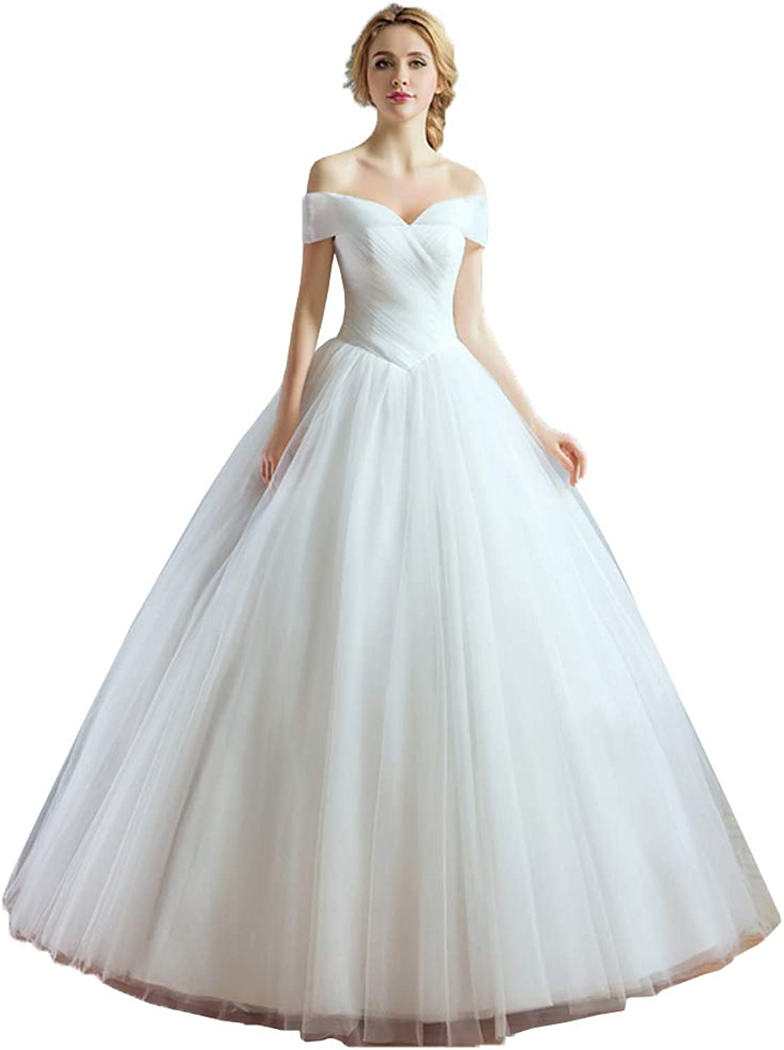 EileenDor Women's Sexy Off Shoulder Wedding Dresses Sleeveless Bridal Gown Pleated Ball Gown Evening Dresses