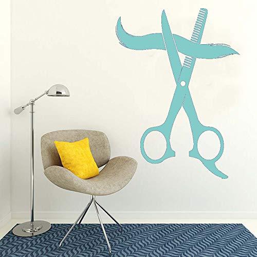 Decoración del hogar salón de belleza gran tijera salón de peluquería vinilo arte calcomanía peinado extraíble etiqueta de la pared para barbería papel pintado ~ 1 43 * 59 cm