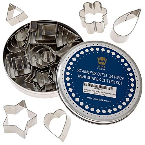 Mini Cookie Cutter Shapes Set - 24 Small Molds to Cut Out Pastry Dough, Pie Crust & Fruit - Tiny Stainless Steel Metal Stamps Teardrop Leaf, Flower, Heart, Star, Geometric Shapes - Cut Fondant & Clay
