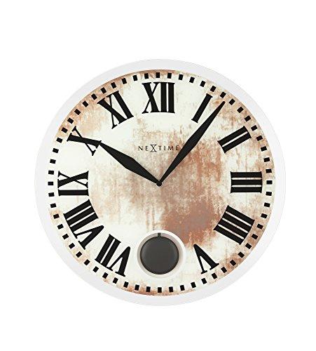 Nextime Reloj de Pared Grande Romana, con péndulo, Redondo, Cristal de Espejo, Blanco, ø43 cm.