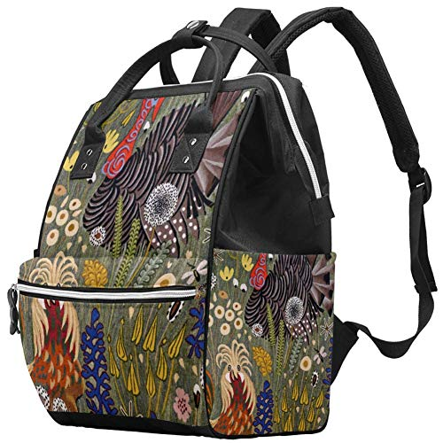 Grand sac à langer multifonction pour bébé, sac à dos, sac à dos, sac à dos, sac à dos pour maman et papa, coq pelouse