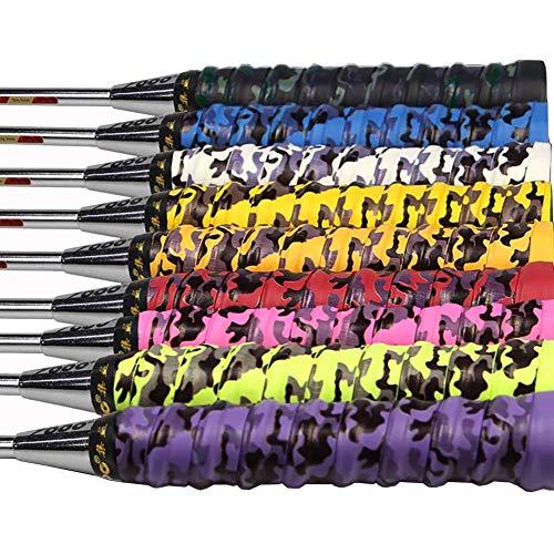 Zhongkaihua Agarre de raqueta de tenis, 9 unidades, agarre grueso, raqueta de repuesto profesional antideslizante sobre agarre, multicolor para tenis, bádminton, squash, raqueta y caña de pescar.