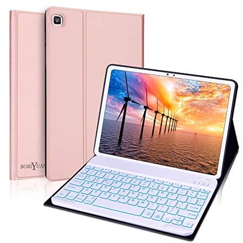 Keyboard Case for Samsung Galaxy Tab A7 10.4'' 2020,BORIYUAN UK Layout QWERTY Backlight Detachable Keyboard with Slim Case for Samsung Galaxy 10.4 inch (SM-T500/T505/T507) - Rose Gold