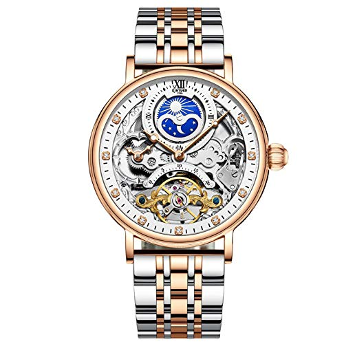JTTM Relojes Hombre Moda Acero Inoxidable Impermeables Mecánico Automático Reloj Hombre Lujoso Comercio Calendario Militar Deportivo Relojes Tourbillon,Blanco