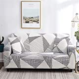 nordmiex Pattern Sofa Slipcover Stretch Arm Chair Large Sofa Slipcover Leather Furniture Protector with 2 Pillowcases for 3-Seat Sofa,Black/Cream