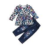 N / A Touda - Conjunto de ropa para bebé (2 unidades, para otoño e invierno, con parte superior y rasgado, pantalones vaqueros para bebés de 1 a 6 años) Color degradado de leopardo. 110 cm