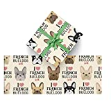 CUXWEOT Gift Wrapping Paper Funny French Bulldog for Christmas,Birthday,Holiday,Wedding,Gifts Packing - 3Rolls - 58 x 23inch Per Roll
