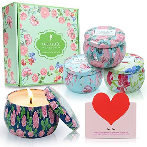 LA BELLEFÉE Duftkerzen Set 100% Sojawachs Kerzen Blumen Aromatherapie Geschenkset für Hochzeiten, Party und Weihnachten (4 x 160g)