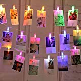 40 LED Photo Clips String Lights, 8 Lighting Modes Fairy Lights, Hanging Photos Pictures Cards Power by Batteries or USB Port, Multi-Colors for Party Bedroom Wedding Event [Update Version]