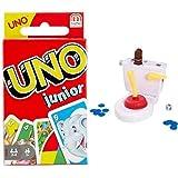 Mattel Games UNO Junior, Juegos de Mesa para niños, 3-10 años + Baño Boom, Atrapa la Caca, Juego de Mesa Infantil