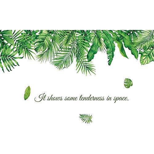 AnnQing Tropical Plant Green Leaves Wandaufkleber für Wohnzimmer Schlafzimmer Sofa Wanddekoration PVC Vinyl Wandtattoos Home Decoration 125x77cm