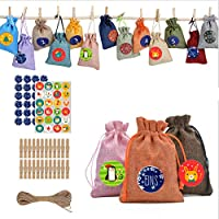 24個 記入する出現カレンダー 子供用布バッグセットDIYフェスティバルギフトバッグ、ナンバーステッカー+ミニ木製クリップとジュートヘンプロップ、クリスマスカレンダーバッグギフトバッグ