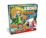 Noris 606011756 - Kroko Dinner - Das Party- und Geschicklichkeitsspiel mit 3 Krokodil Masken mit verstellbarem Gummiband, ab 4 Jahren - Noris