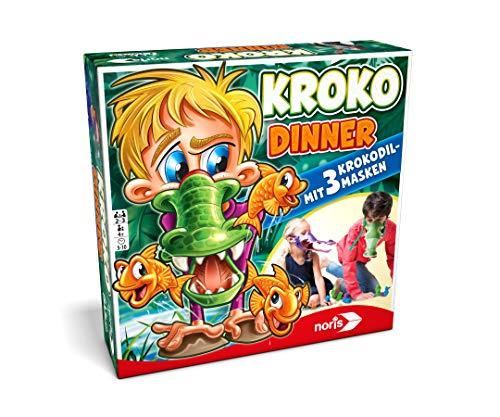 Noris 606011756 - Kroko Dinner - Das Party- und Geschicklichkeitsspiel mit 3 Krokodil Masken mit verstellbarem Gummiband, ab 4 Jahren