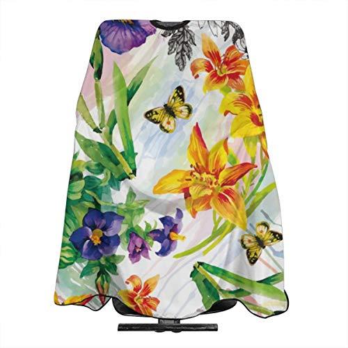 Dnwha Garten-Lilie, Violett, Saintpaulia Blumen, Aquarell mit Schmetterlingen, professionelle Friseurschürze, Polyester, 139,7 x 167,6 cm, geeignet für Friseurladen oder Zuhause