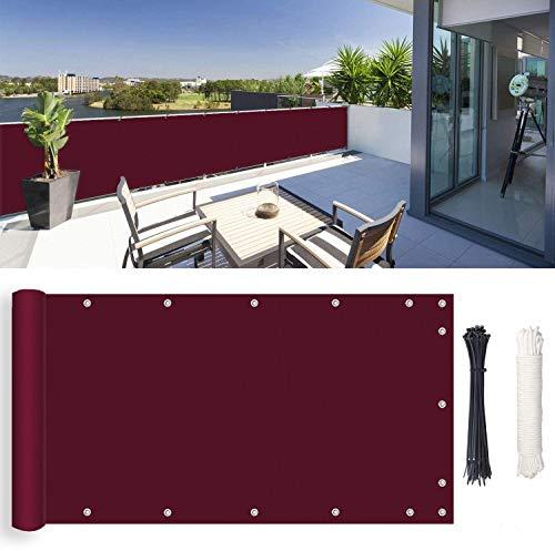 ROBAG Lona Ocultacion Balcon, Protección contra el Sol, Malla Antienvejecimiento para Jardines, Patios terrazas, jardín al Aire Libre, 0.9x5m, Carmesí