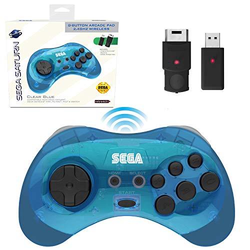 Retro-Bit Official Sega Saturn 2.4 GHz Wireless Controller 8-Button Arcade Pad for Sega Saturn, Sega Genesis Mini, Switch, PS3, PC, Mac - Includes 2 Receivers & Storage Case - Clear Blue