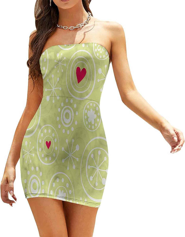 Women's Summer Strapless Dresses Christmas Theme Snowflakes Dresses