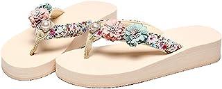AUCDK Women Flip Flops Casual Style Flower Clip Toe Sandals Platform Thongs Sandals Summer Beach Shoes