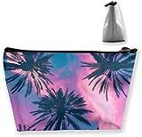 Regalo ideal – Bolsa de almacenamiento trapezoidal para cosméticos con diseño de calaveras de azúcar mexicanas moradas con flores y flores