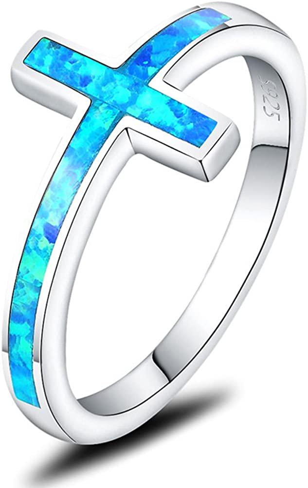 Mozume Created Blue Sale special price Opal Christian Cross Ring Brand new Sideways 925 Sterl